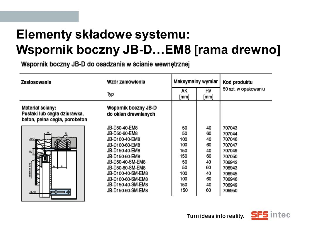Elementy składowe systemu: Wspornik boczny JB-D…EM8 [rama drewno]